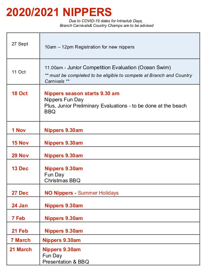 2020/2021 Nippers Calendar